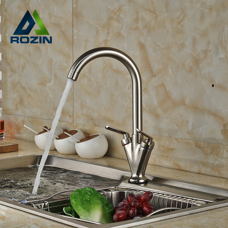 ФОТО Brushed Nickel Dual Handle Rotation Neck Kitchen Sink Faucet Deck Mount brass Kitchen Hot Cold Water Tap