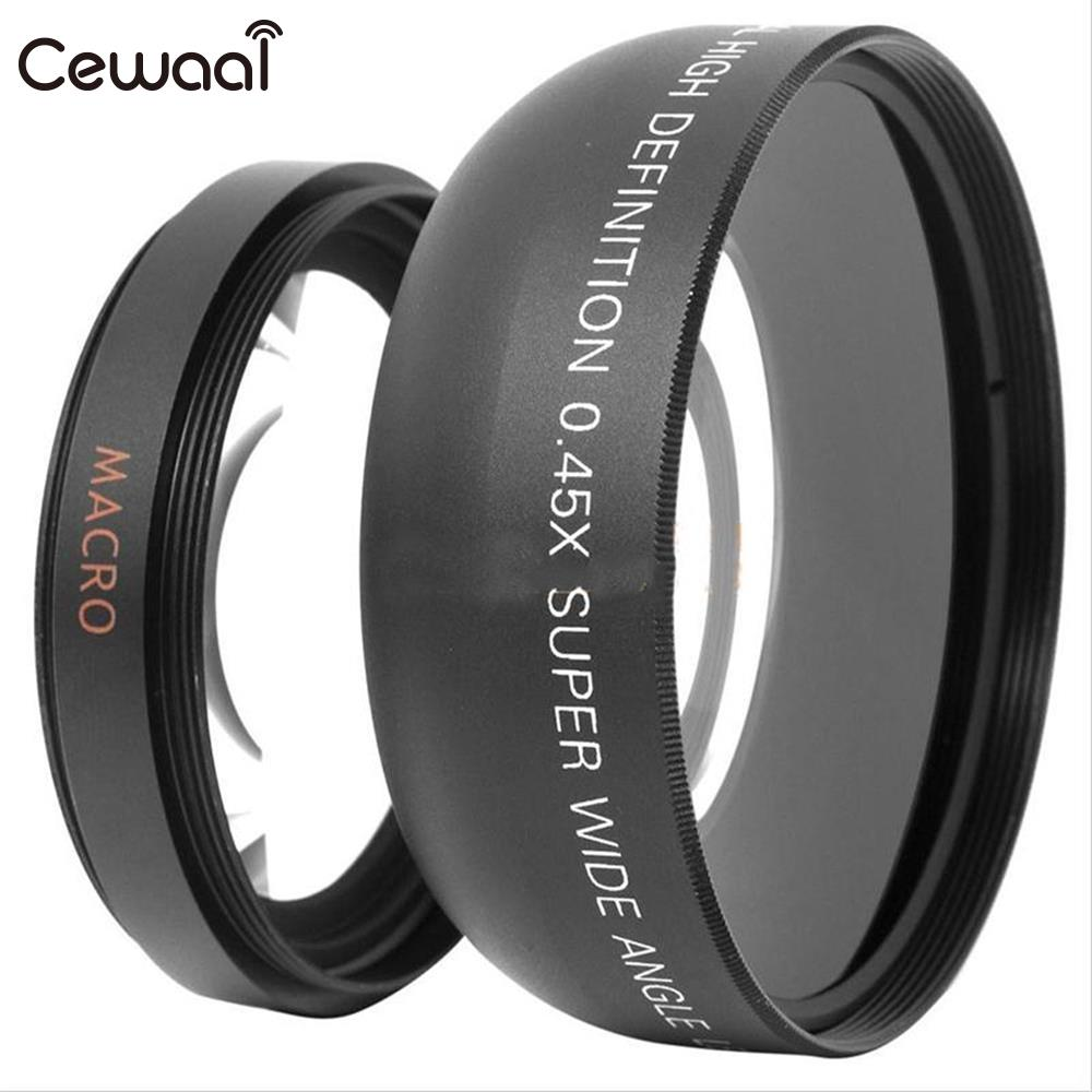 Cewaal 0.45x52mm High Definition Super Wide Angle Macro Lens for Canon Nikon Camera Camcorder Cam Carry Bag