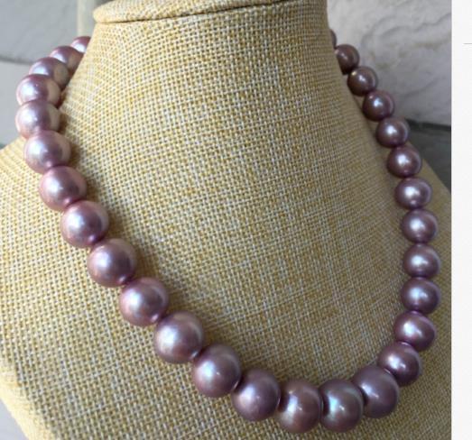 Magnifique collier de perles deau douce rondes lavande 10-11mm 18 pouces 925 argentMagnifique collier de perles deau douce rondes lavande 10-11mm 18 pouces 925 argent