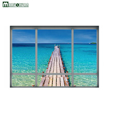 Maruoxuan 2017 New 3D Blue Sky Sea Wood Bridge False Window Stickers Bedroom Living Room Background Decoration Pvc Wall Stickers