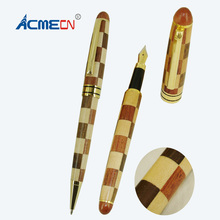 ACMECN Hot Sale Design Stiching Patchwork Wood Writing Gifts Natural Eco-friendly Hand-made Ballpoint Pen and Fountain Kits