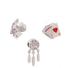 European Fashion Fashion Charm Hot Sale Playing Cards Beads DIY Suitable for Pandora Bracelet High Quality