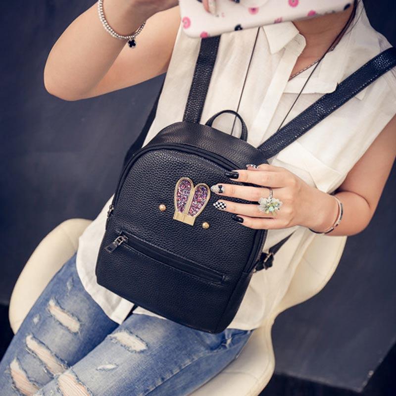 Fashion Korean Women Backpack Leather Rabbit Ears Diamond Zipped Ladies Casual Travel Bag Girls School Bags