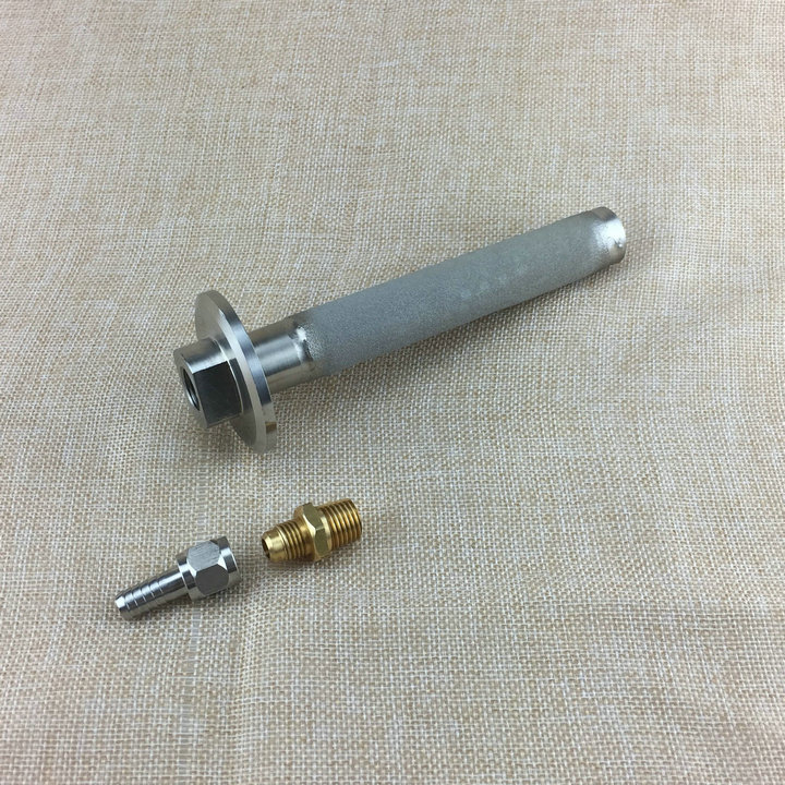 6 length Stainless Steel Carbonation Stone SS316 with 1 4 NPT Female with gas inlet accessories