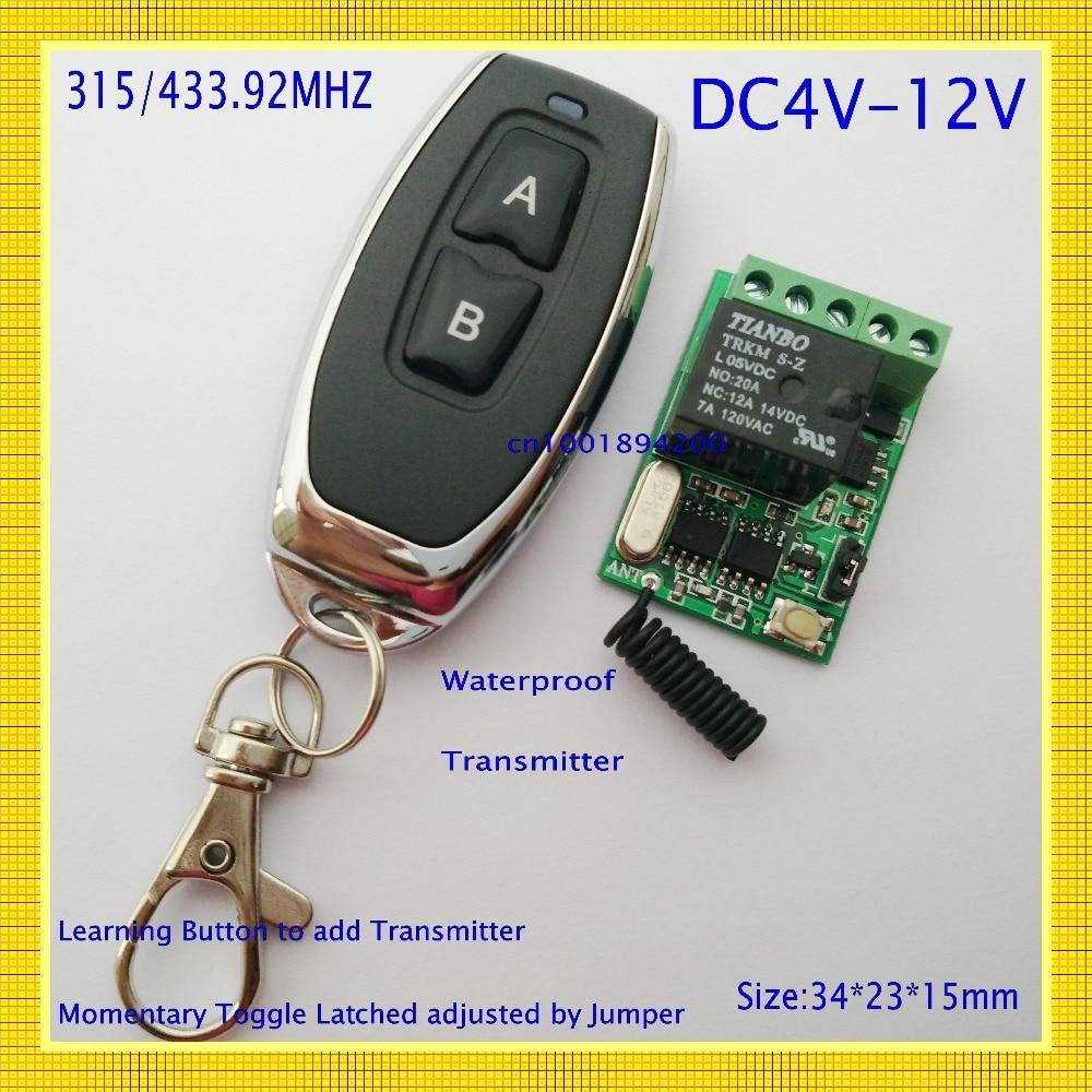 Relais fernbedienung DC4V 4,5 V 5 V 6 V 7,4 V 9 V 12 V wireless relay 10A Schließer schließen power remote on off RF rx tx