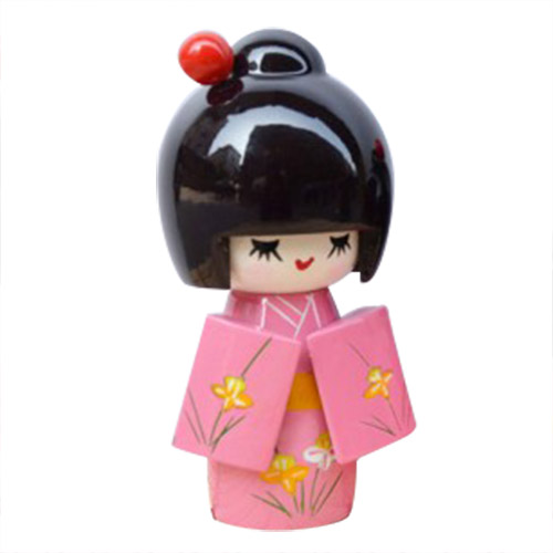ABWE Best Sale 3 Pcs Flower Print Wood Japanese Folk Craft Kokeshi Doll Pink abwe 4x a