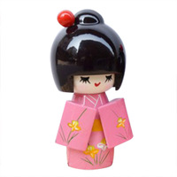 ABWE Best Sale 3 Pcs Flower Print Wood Japanese Folk Craft Kokeshi Doll Pink