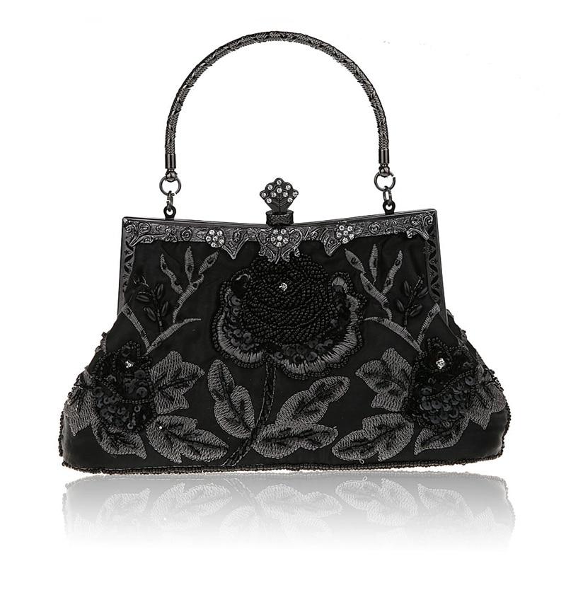 Fashion Black Ladies' Beading Beaded Banquet Handbag Clutch Party Bridal Evening Bag with Shoulder Chain Makeup Bag 03331-1-G