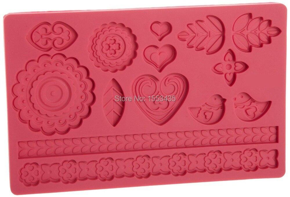 Moule à gâteaux en forme De cœur et De fleurs   Moldes De Silicona Cocina, moule à Fondant en Silicone pour décoration De gâteau, motif doiseau