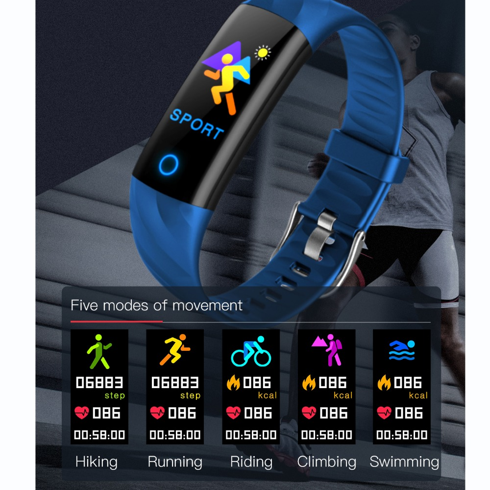 WLMLBU Heart Rate Fitness Bracelet IP68 Waterproof Blood pressure oxygen Monitor Color Screen Activity Tracker Smart Band in Smart Wristbands from Consumer Electronics