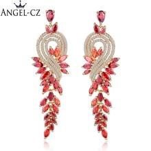 Zirconia AE017 ยี่ห้อออกแบบสีอินเดียแต่งงานสีแดงเครื่องประดับประกายหิน ผู้หญิงยาวชาติพันธุ์ต่างหู