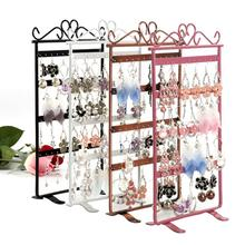 Earrings Necklace Jewelry Stand Holder Display Rack Simple Style Ear Studs Metal Shelf
