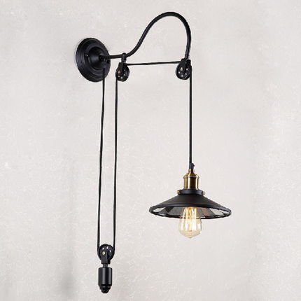 Loft Style Iron Glass Pulley Lifting Vintage Wall Light Fixtures Industrial Edison Wall Sconce Stair Bedside Mirror Wall Lamp