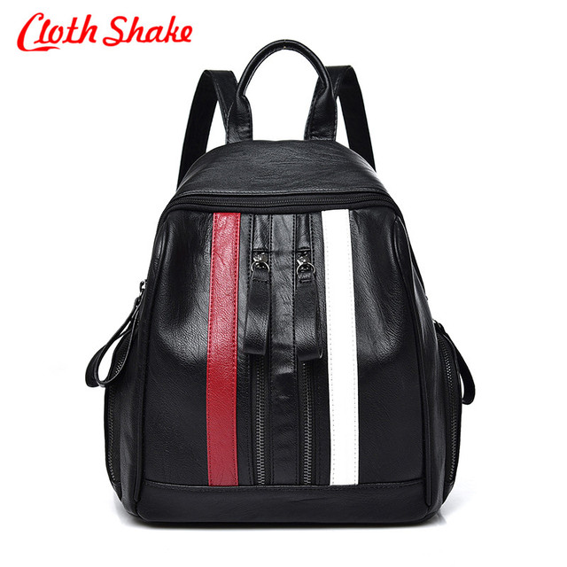 8a73fe9f5b 2018 PU Leather Women Backpack Simple Casual Schoolbag Medium Size Daypack  Girl s Daily Bag Vintage Mochila Casual Rucksack