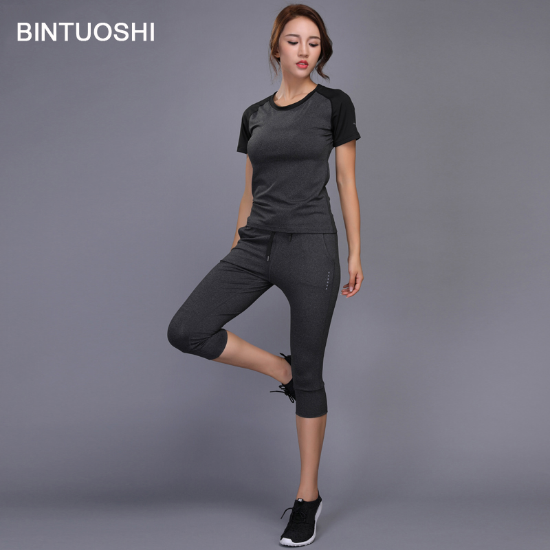 BINTUOSHI Women Running Sets Yoga Sport Shirts+Pants Gym Workout Fitness Training Clothes Quick Dry Jogging Sport Suit