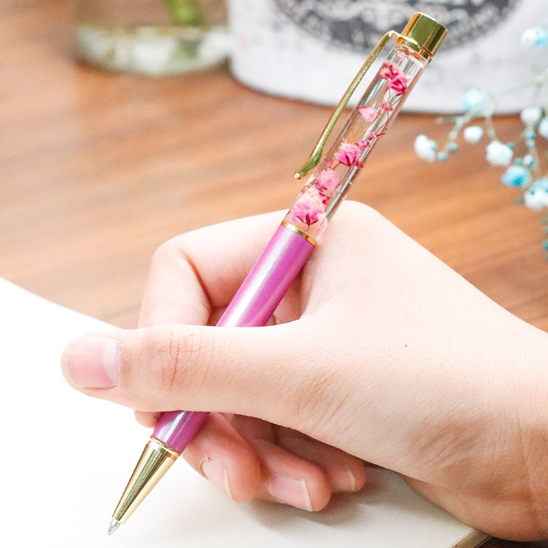 Custom Logo Pen High Grade Creative Fower Gold Metal Gel Pen Private Birthday Valentine 39 s Day Engraved Gift School Office Supply in Gel Pens from Office amp School Supplies