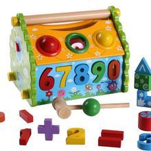 Деревянный многофункциональный дом демонтажа мудрости, цифровой познание стук мяч игрушки, детские Монтессори материалы