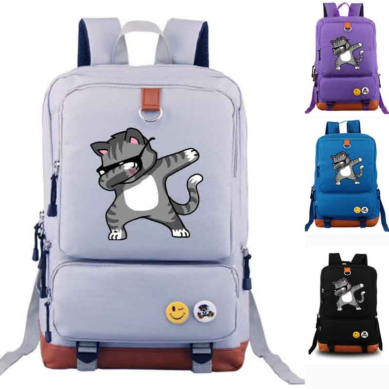Dabbing Cat Funny Cool Hip Hop Backpack Canvas Backpacks School Rucksack Travel Backpack ...