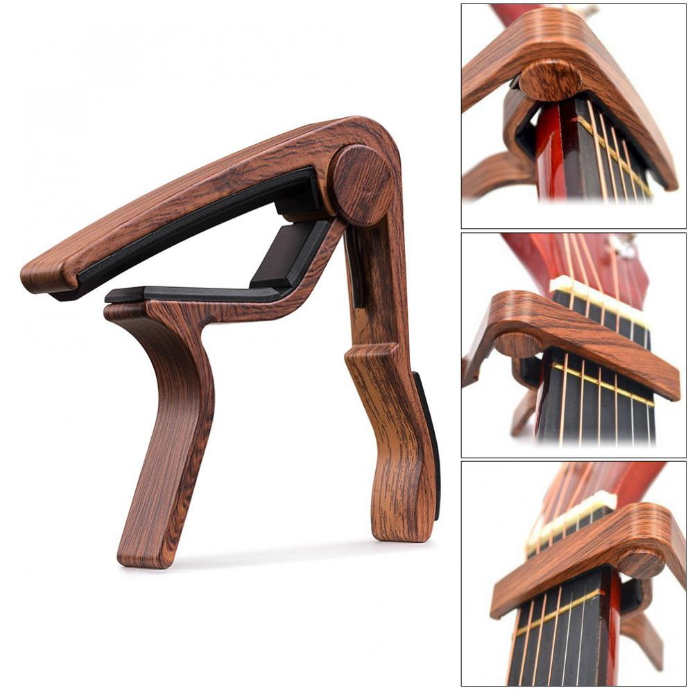 Wood Grain Metal Guitar Capo with Perfect Silicon Cushion for Acoustic Guitar Ukulele Tuning