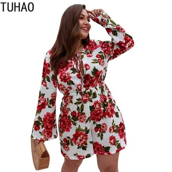 TUHAO Sexy Bodysuit Floral Print Women Rompers Jumpsuit Playsuit Feminino Bohemian Casual Summer Boho Clothes Overall Tops KKFS