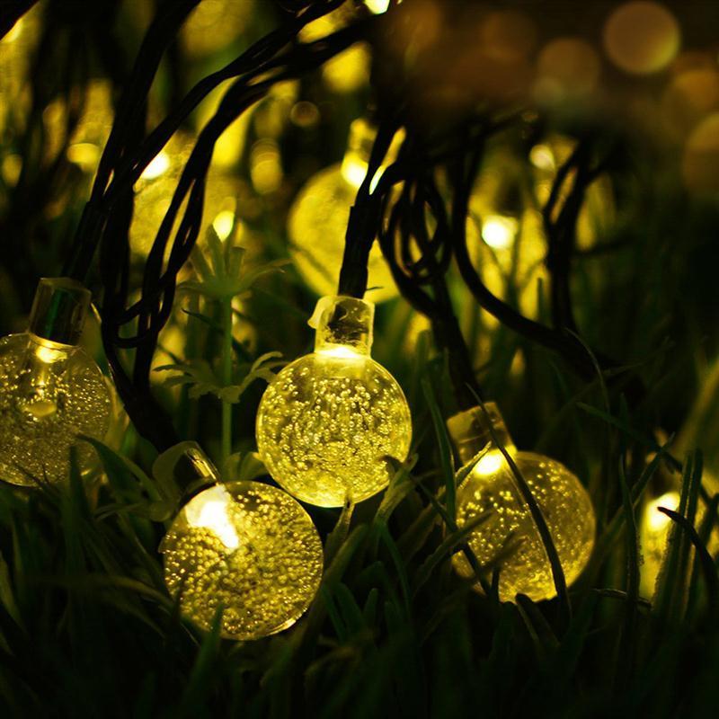 2 шт. 4.5 м 30 светодиод на солнечных батареях Бурлящий шарик лампы Открытый огни строки (теплый белый)