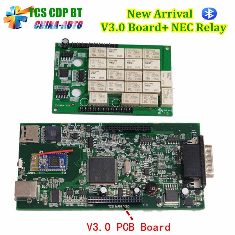 Beste TCS CDP Pro V3.0 Board + NEC Relais 2015.3 Software Met Keygen obd2 Cars of Vrachtwagens Diagnostic Tool Zwart-Rode of Zwarte Kleur