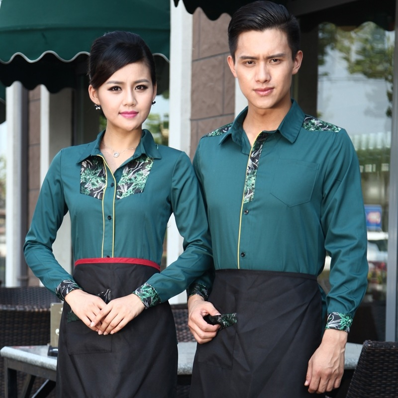 Hotel Waitress Long-sleeved Uniform Jacket Chinese Restaurant Catering Overalls Hot Pot Shop Cafe Female Men Waiter Shirt H2360