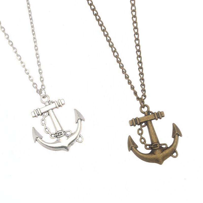 Fashion Silver Ancient Bronze Anchor Pendant Silver Short Chain Necklace For Men Women Jewelry 50cm 1pcs S8126