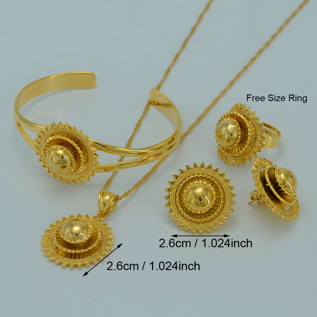 Ethiopian Jewelry sets Ethiopians Traditional Festivals  Gold Plated Eritrea Ethiopia National Wedding Jewelry Gifts #007802