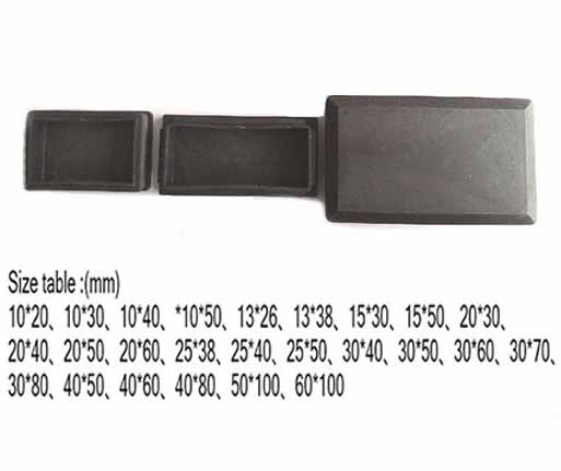 Furniture 10x15 20 30 40 50; 13x26 38 15x25 30 40 50 60; 20x30 40 50 60 80;25x38 40 50 75 Oblong Tube Insert Ends Plastic Plug Rectangle