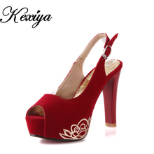 Hot sale!  Big size 30-50 Fashion sweet style women shoes Ultra high with solid Peep Toe Sandals beige black blue red HQW-B-2