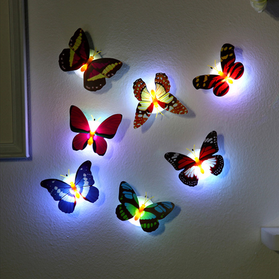 Hot LED Light Night Atmosphere Lamp Colorful Changing Butterfly Indoor Light With Suction Pad Home Party Desk Wall Decor