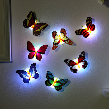 Hot LED Light Night Atmosphere Lamp Colorful Changing Butterfly Indoor Light with Suction Pad Home Party Desk Wall Decor image