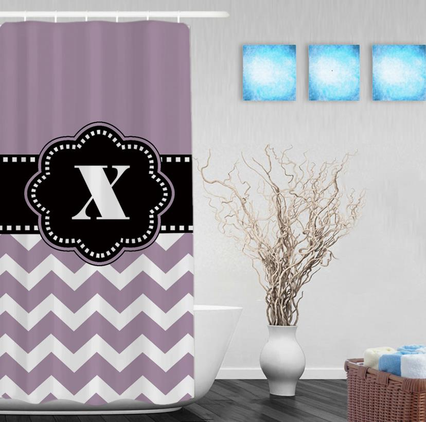 Personalized Black Monogram Decor Bathroom Curtains Purple Striped Polyester Fabric Shower Curtain Hooks In From Home Garden On