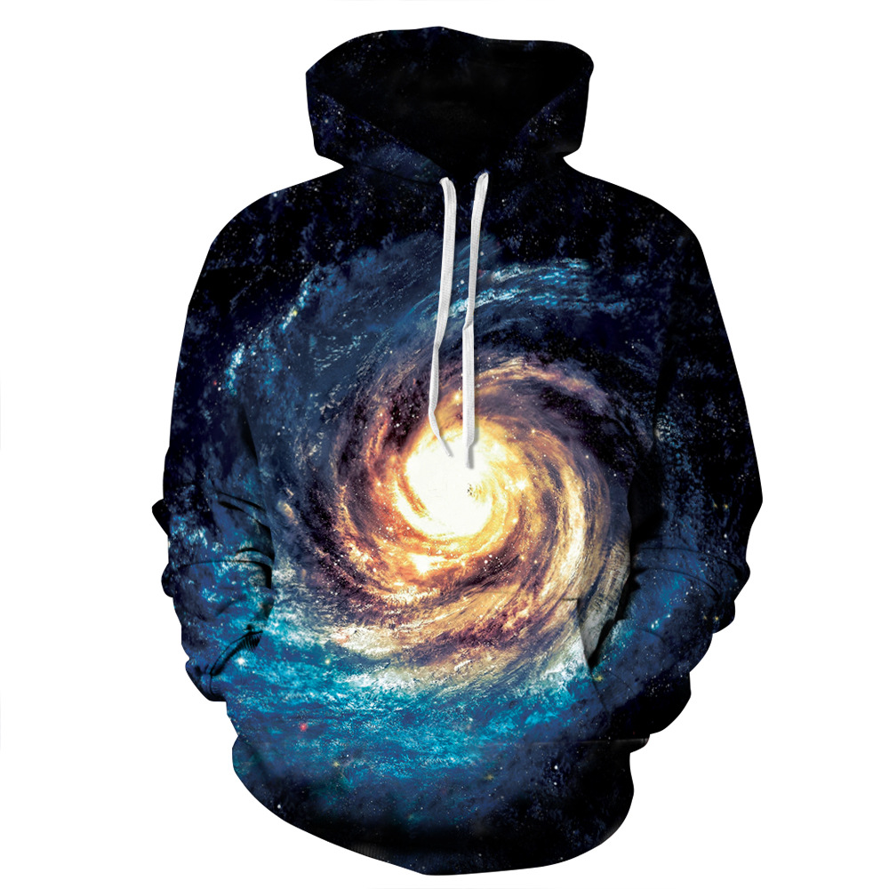 JSMY 2019 New Summer Fashion Space Galaxy Star Printing Baseball Uniform Lovers Long sleeved Hooded Sweatshirt in Hoodies amp Sweatshirts from Women 39 s Clothing