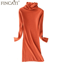 Winter Dress Women 2018 Office Lady High Grade 100% Goat Cashmere Striped Knitted Fluffy Pile Collar Knee Length Dresses