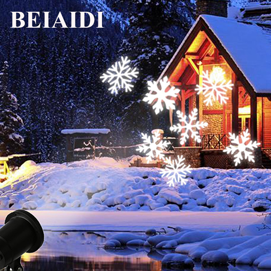 BEIAIDI Outdoor Christmas Light Projector Waterproof Moving Snowflake LED Laser projector Christmas Party Garden Snowflake Lamp недорго, оригинальная цена