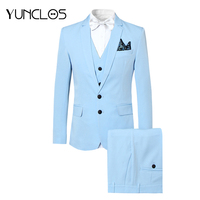 YUNCLOS EU Size Wedding Men Suits 3 PCS Two Buttons Retro Classic Men's Tuxedos Groom Wedding Dress Formal Male Suit with Pant