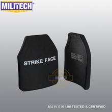 MILITECH 2 ชิ้นชุด Curve SIC & PE NIJ IV Bulletproof แผ่นคู่ NIJ ระดับ 4 Stand Alone ballistic แผงฟรีเรือ