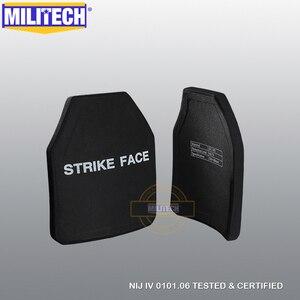 Image 1 - MILITECH набор из двух предметов, многоизогнутая пластина SIC & PE NIJ IV, пуленепробиваемая пластина, пара уровней NIJ 4, отдельные Баллистические панели, Бесплатная доставка