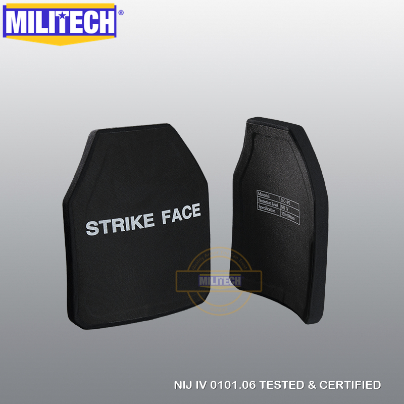 MILITECH Two Pieces Set Multi Curve SIC & PE NIJ IV Bulletproof Plate Pair Of NIJ Level 4 Stand Alone Ballistic Panels FREE SHIP