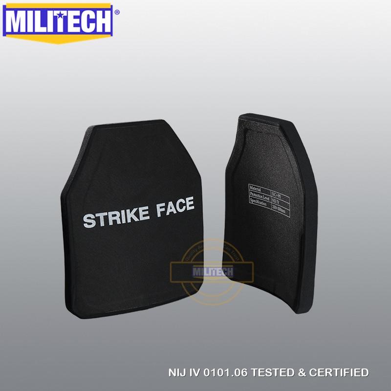 MILITECH Two Pieces Set Multi Curve SIC & PE NIJ IV Bulletproof Plate Pair Of NIJ Level 4 Stand Alone Ballistic Panels FREE SHIP
