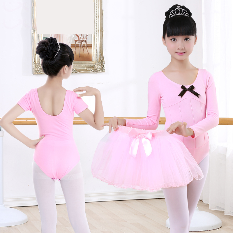 Pink Long Sleeve Ballet Dance Training Leotard Girls Gymnastics Pleated Leotard Dance Clothes Kids Children Ballerina Costume