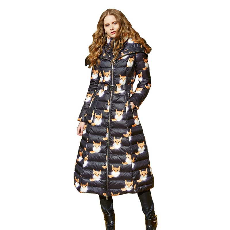 4c0d022c33 European Women Printed Down Parkas Coats with Hoody Winter Lady X-Long  Overcoats Female Clothing ...