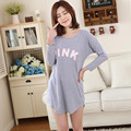 New Style Women Nightgowns Feme Sleepshirt Spring 2016 New Summer Cotton Long-sleeve Lady Nightdress Mum Lounge  M L XL
