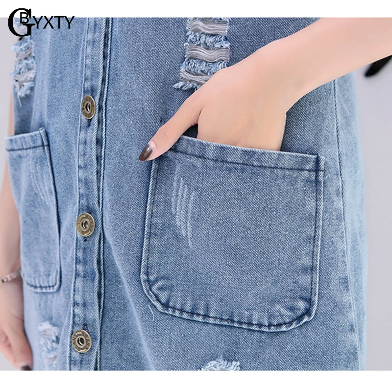 14e3c7e37 US $16.49 45% OFF|GBYXTY veste sans manche femme Women's Denim Vests 2019  Spring Summer Ripped Long Jeans Waistcoat Femme Sleeveless Jacket ZA126-in  ...