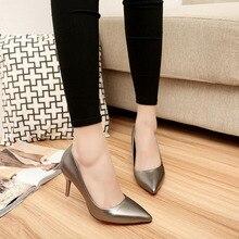Nuevos Tacones de Aguja Ladeis Bombas de Las Mujeres zapatos de Trabajo de Cuero de Moda Puntiagudos Finas Con Ocasionales Clásicos zapatos de Tacón Negro Zapatos Señora de la Oficina