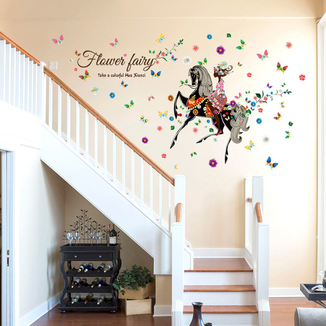 Angel Horse Beautiful Girl Flowers Butterfly DIY Wall Stickers Removable  Home Decoration Living Room Bedroom Girlu0027s