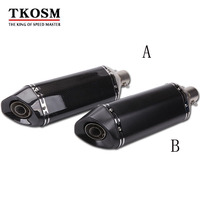 TKOSM Motorcycle Exhaust Muffler Universal ID 51mm Length 470mm Real Carbon Fiber Face Motorbike Exhaust Pipe