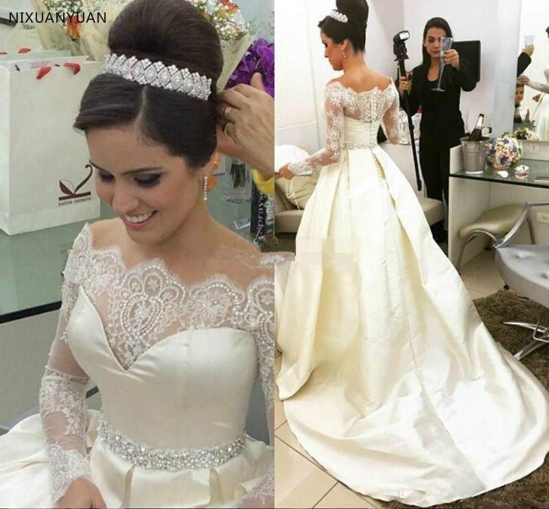 Ivory A Line Wedding Dresses Lace Beaded Off The Shoulder Sheer Long Sleeves Bridal Gowns Back Covered Buttons Satin Sweep Train